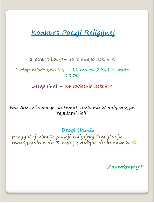 Konkurs Poezji Religijnej Szkoła Podstawowa Nr 3 W Chojnicach